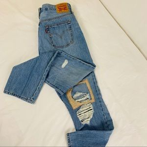 Levi's 501 CT Cropped Patched Jeans Size 29